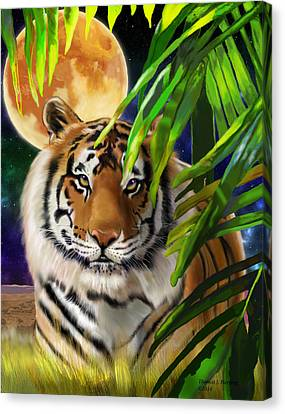 Canvas Print featuring the painting Second In The Big Cat Series - Tiger by Thomas J Herring