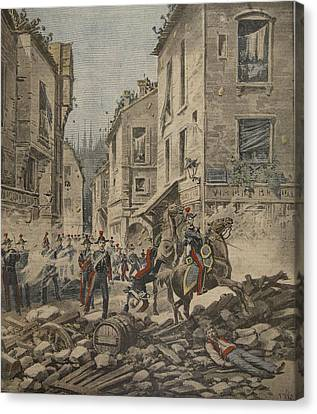Serious Troubles In Italy Riots Canvas Print by French School