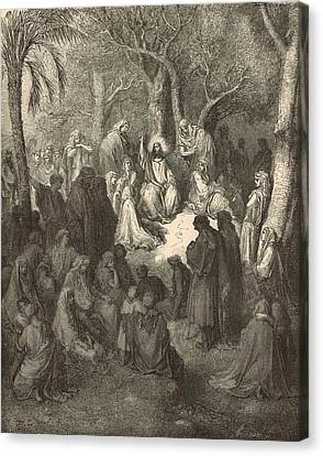 Sermon On The Mount Canvas Print by Antique Engravings