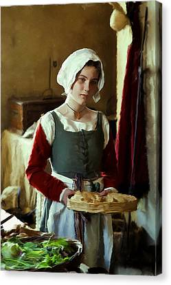 Serving The Bread Canvas Print