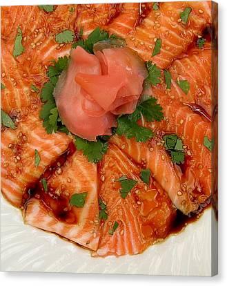 Sesame Salmon Sashimi Canvas Print by James Temple