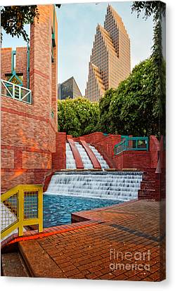 Sesquicentennial Fountains At Wortham Center - Downtown Houston Texas Canvas Print by Silvio Ligutti