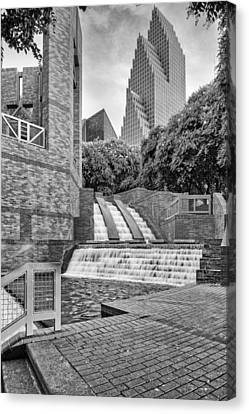Sesquicentennial Fountains At Wortham Center In Black And White - Downtown Houston Texas Canvas Print by Silvio Ligutti