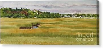Sesuit Harbor Marshside Canvas Print by Karol Wyckoff