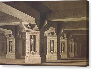 Set Design For Act II Scene Xx Of The Magic Flute By Wolfgang Amadeus Mozart 1756-91  Canvas Print by Karl Friedrich Schinkel
