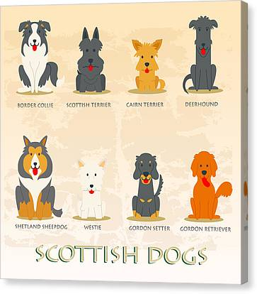 Set Of Scottish Dogs  Canvas Print by Don Kuing
