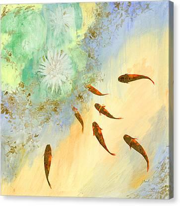 Sette Pesciolini Verdi Canvas Print by Guido Borelli