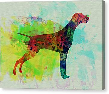 Setter Pointer Watercolor Canvas Print by Naxart Studio