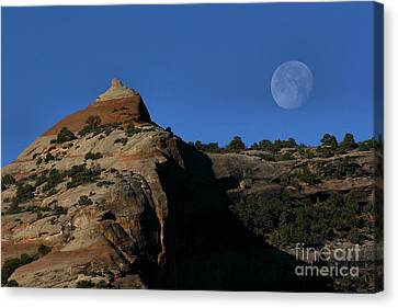 Canvas Print featuring the photograph Setting Moon by Steven Reed