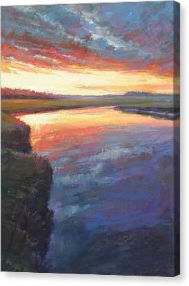 Setting On Scorton Canvas Print by Ed Chesnovitch