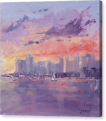 Setting Sun Over Boston  Canvas Print by Laura Lee Zanghetti