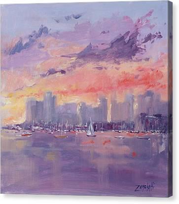 Setting Sun Over Boston  Canvas Print