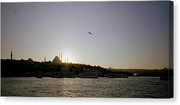 Setting Sun Over Istanbul Canvas Print by Shaun Higson