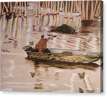 Setting Up In A Tupelo Swamp Canvas Print by Kevin Callahan