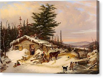 Settler's Log House Canvas Print by Mountain Dreams