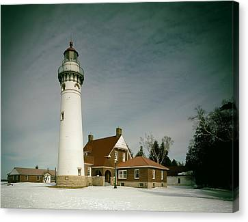 Seul Choix Point Lighthouse In Winter Canvas Print by Mountain Dreams