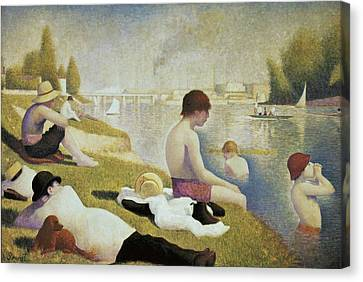 Seurat, Georges 1859-1891. Bathers Canvas Print by Everett