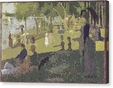 Seurat Canvas Print - Seurat Sunday Afternoon At The Park by Ds
