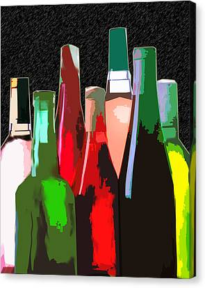 Seven Bottles Of Wine On The Wall Canvas Print