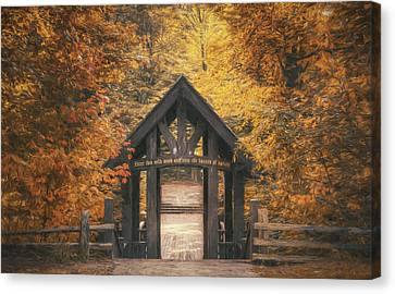 Red Leaf Canvas Print - Seven Bridges Trail Head by Scott Norris