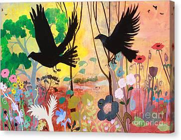 Seven Circling Crows Canvas Print by Robin Maria Pedrero
