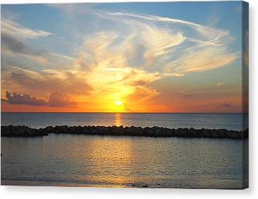 Seven Mile Sunset Over Grand Cayman Canvas Print by Amy McDaniel
