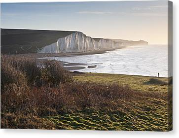 Seven Sisters Sunrise Viewed From Seaford Head Canvas Print by Matthew Gibson