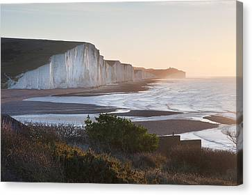 Seven Sisters Sunrsie Viewed From Seaford Head Canvas Print by Matthew Gibson