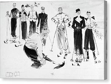 Seven Women Wearing Ski Outfits Canvas Print by Rene Bouet-Willaumez