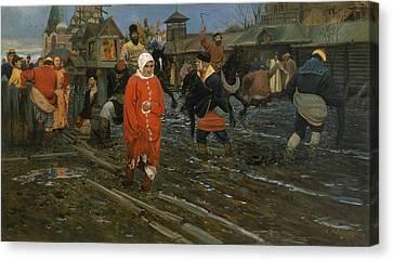 Public Holiday Canvas Print - Seventeenth Century Moscow Street On A Public Holiday by Andrei Ryabushkin