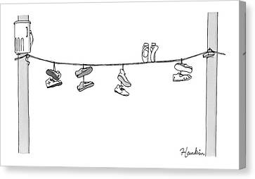 Sneakers Canvas Print - Several Pairs Of Shoes Dangle Over An Electrical by Charlie Hankin