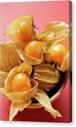 Wooden Bowl Canvas Print - Several Physalis In Wooden Bowl by Foodcollection
