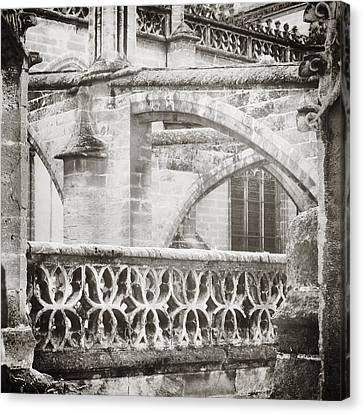 Seville Cathedral Buttresses Black And White Canvas Print by Angela Bonilla
