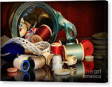 Sewing - Grandma's Mason Jar Canvas Print by Paul Ward