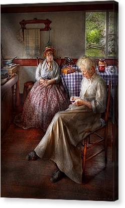 Sewing - I Can Watch Her Sew For Hours Canvas Print by Mike Savad