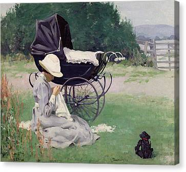 Dog In Landscape Canvas Print - Sewing In The Sun, 1913 by Brake Baldwin