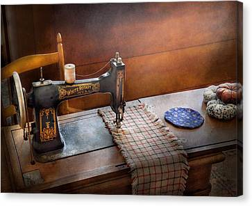Sewing - It's Just Black And White  Canvas Print by Mike Savad