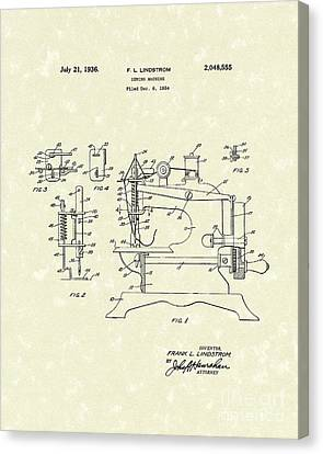 Sewing Machine Canvas Print - Sewing Machine 1936 Patent Art by Prior Art Design