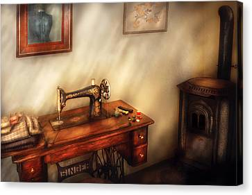 Sewing Machine - Sewing In A Cozy Room  Canvas Print by Mike Savad