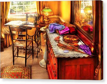 Sewing Machine  - The Sewing Room Canvas Print by Mike Savad