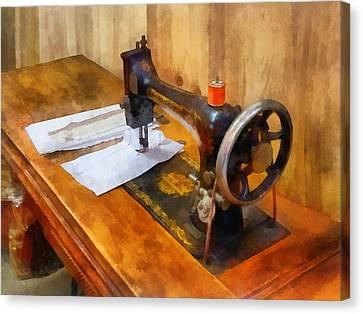 Sewing Machine With Orange Thread Canvas Print by Susan Savad