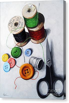 Sewing Canvas Print - Sewing Memories by Linda Apple