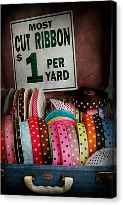 Sewing - Ribbon By The Yard Canvas Print by Mike Savad