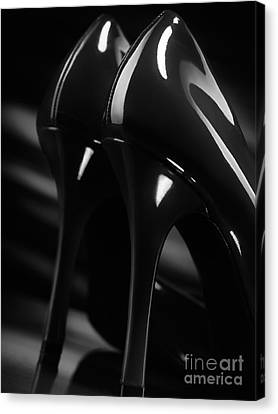 Sexy Black High Heel Shoes Closeup Canvas Print by Oleksiy Maksymenko