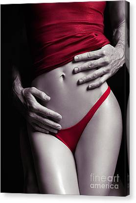 Sexy Couple Man Hands Embracing Woman In Red Canvas Print by Oleksiy Maksymenko