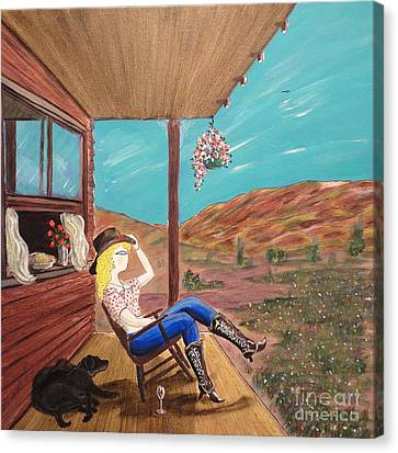 Sexy Cowgirl Sitting On A Chair At High Noon Canvas Print by John Lyes