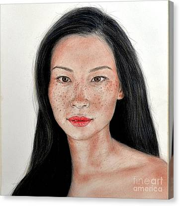 Sexy Freckle Faced Beauty Lucy Liu Canvas Print by Jim Fitzpatrick