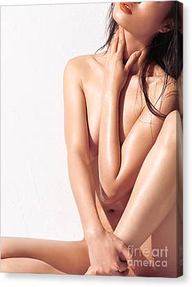 Sexy Nude Asian Woman With Shiny Skin Canvas Print