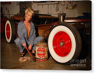 Sexy Pinup Girl With Rat Rod Car Canvas Print by Jt PhotoDesign