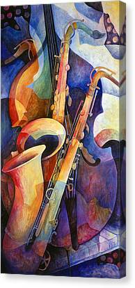 Contemporary Artwork Canvas Print - Sexy Sax by Susanne Clark